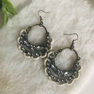 ••3 for $35•• Boho Chic Cream Embroidered Earrings